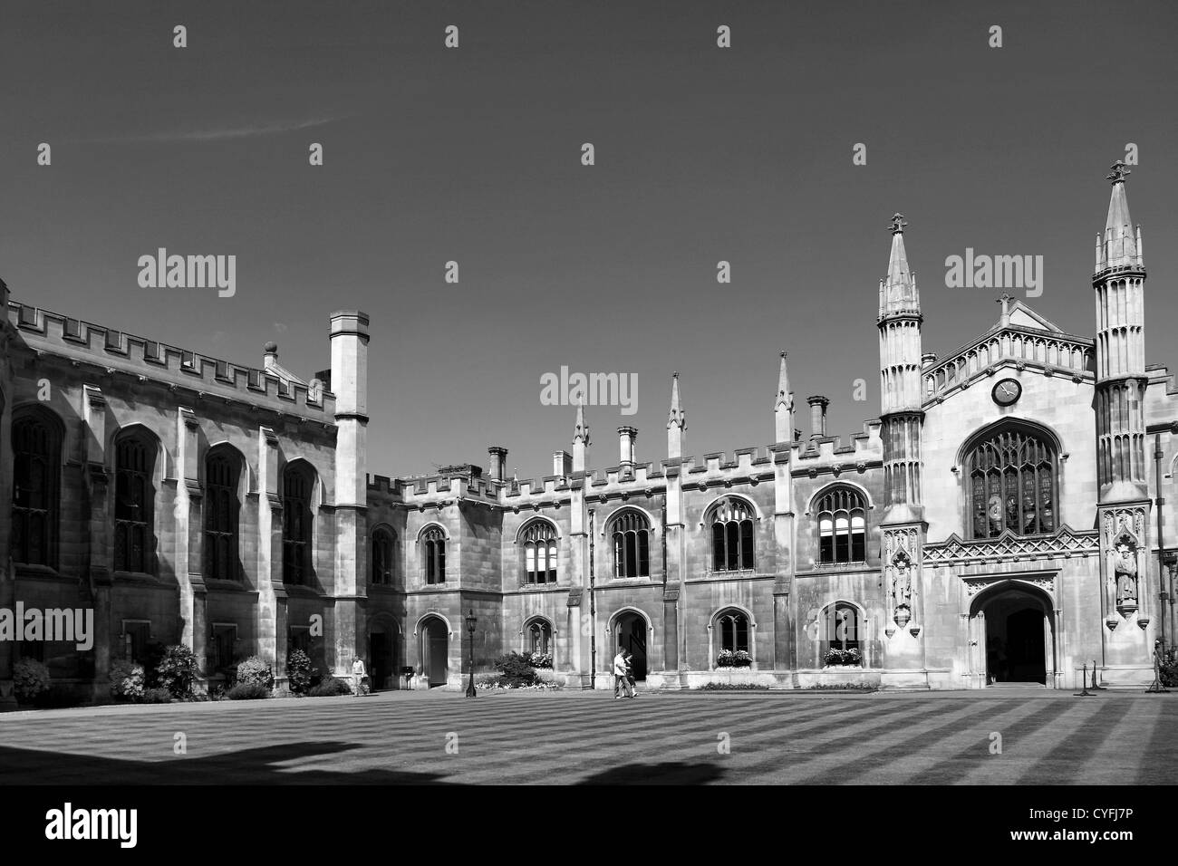 Black and White image, exterior view of Corpus Christi College a University college, Cambridge City, Cambridgeshire, - Stock Image
