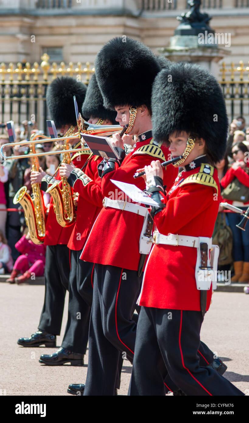 Coldstream guards band playing at changing of the guard at Buckingham palace. London. - Stock Image