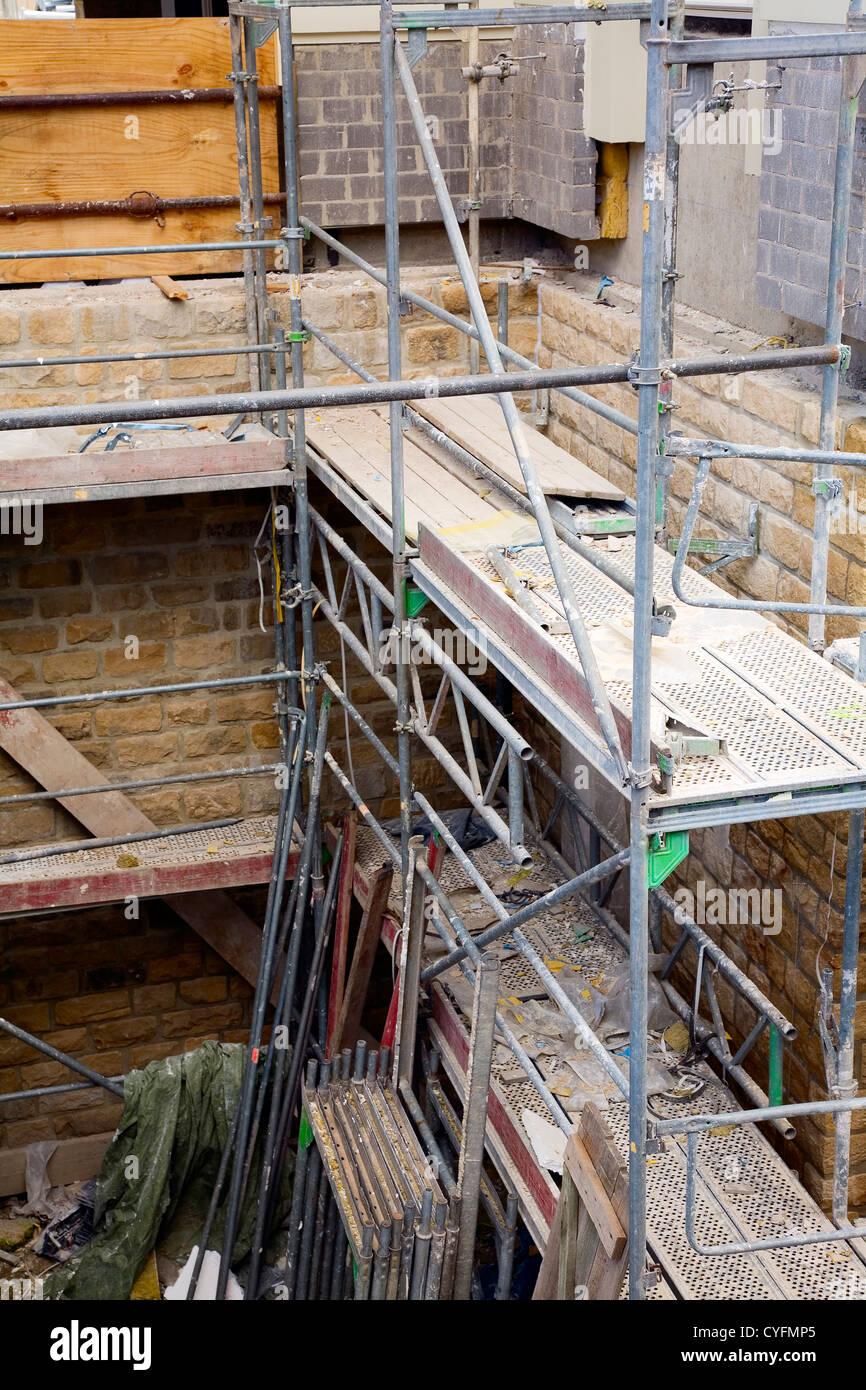 View of a metal scaffolding by renovation work on a historic building, city Luxembourg / Luxembourg - Stock Image