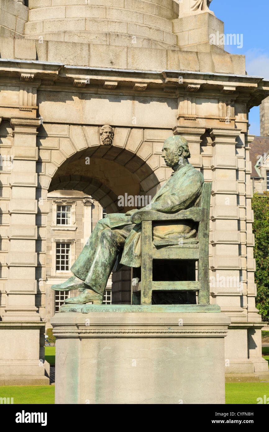 Statue of Irish historian William Edward Hartpole Lecky in Trinity College University of Dublin, Ireland, Eire - Stock Image