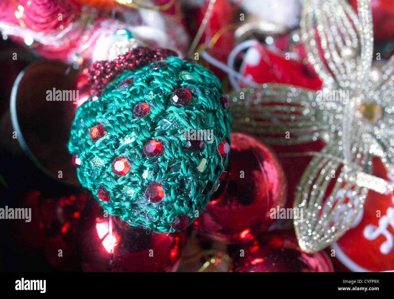 Boxe with old Christmas ornaments - detail - Christmas is coming ...