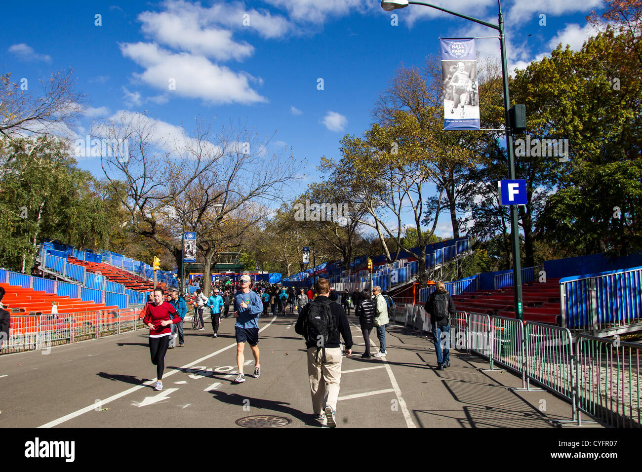 New York, USA. 3rd November 2012. Route of the 2012 NYC Marathon near the finish line which was canceled after Hurricane - Stock Image