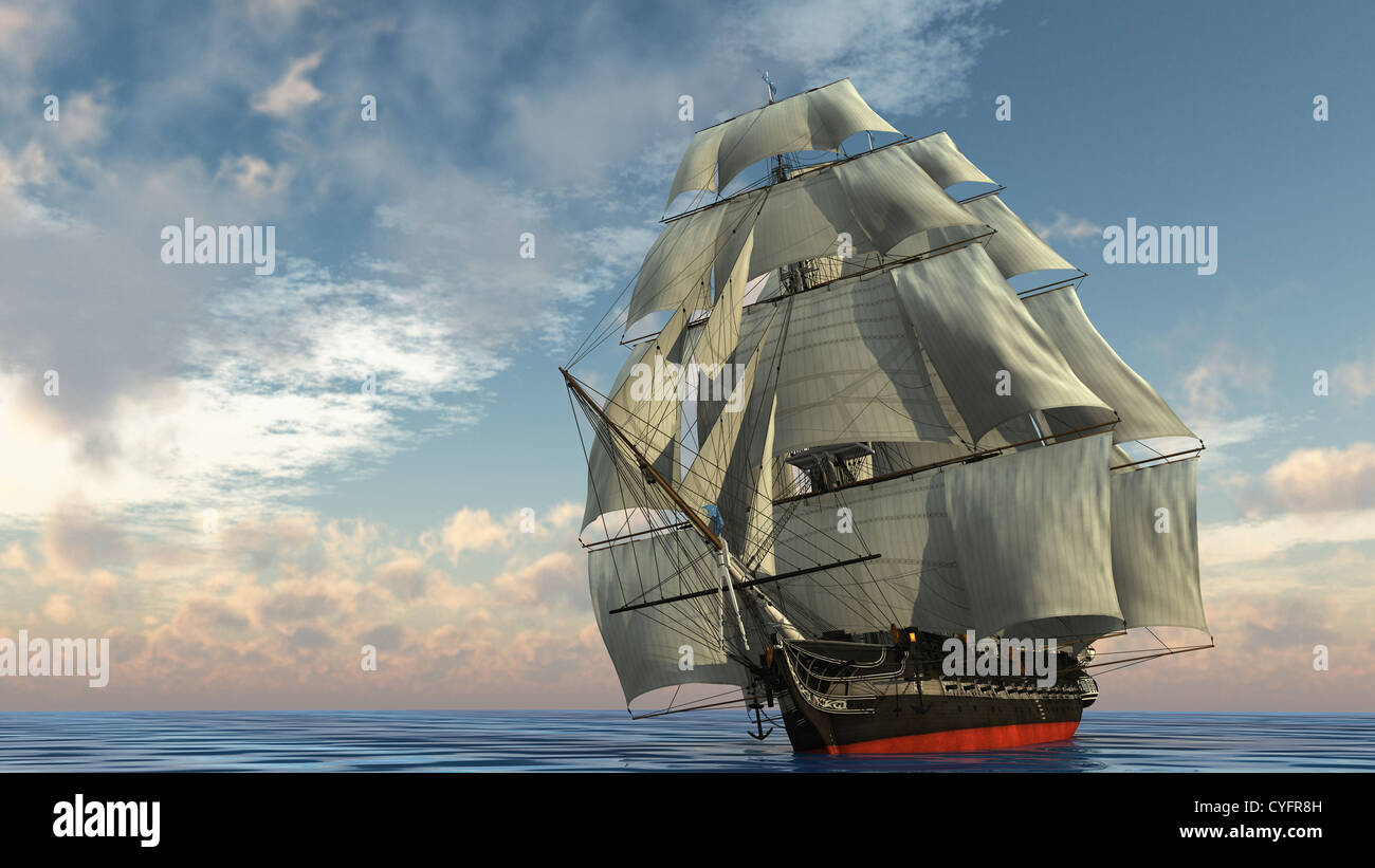 ship in the ocean - Stock Image