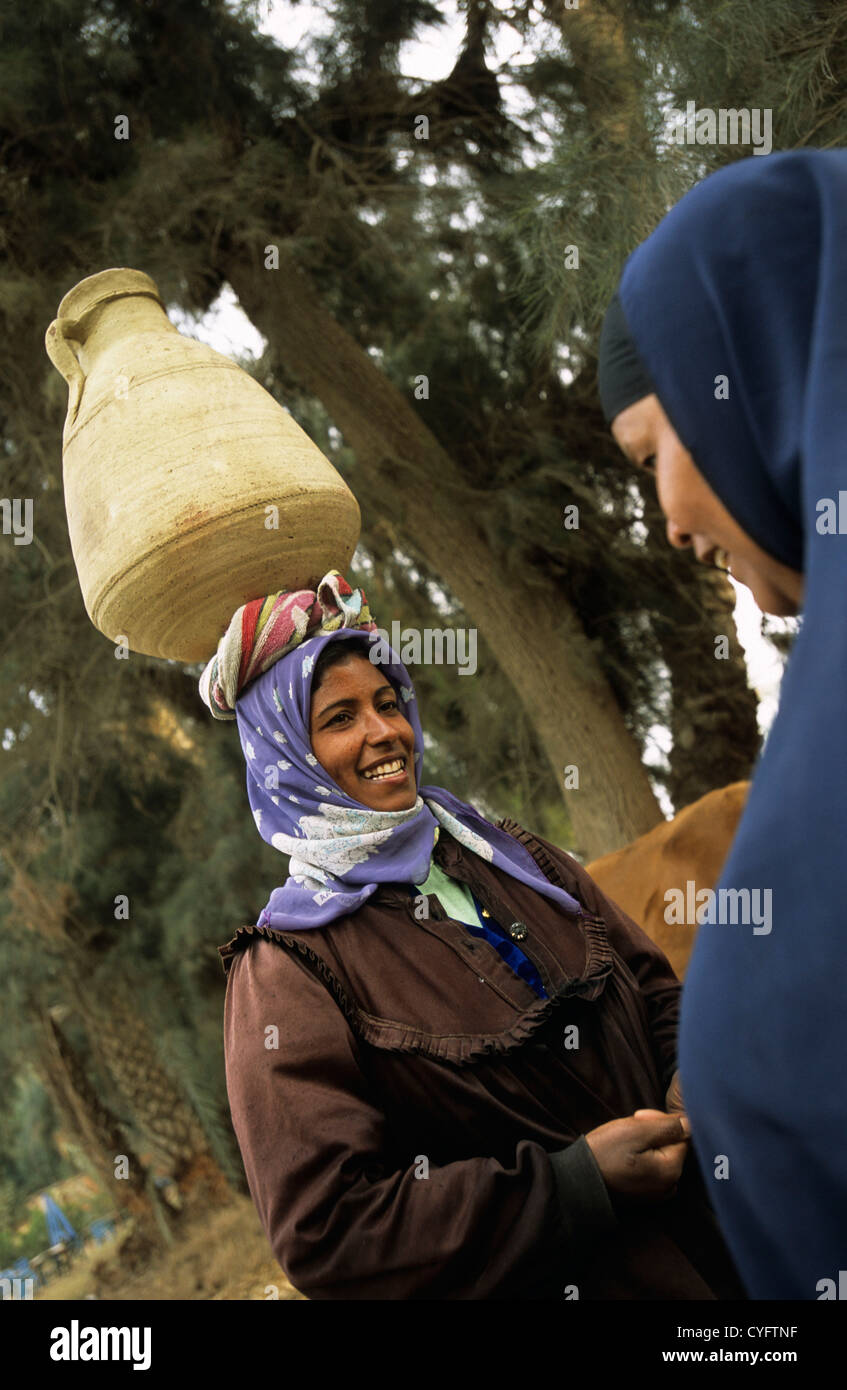 Egypt, near Cairo, countryside, Nile valley, woman with jar. Stock Photo