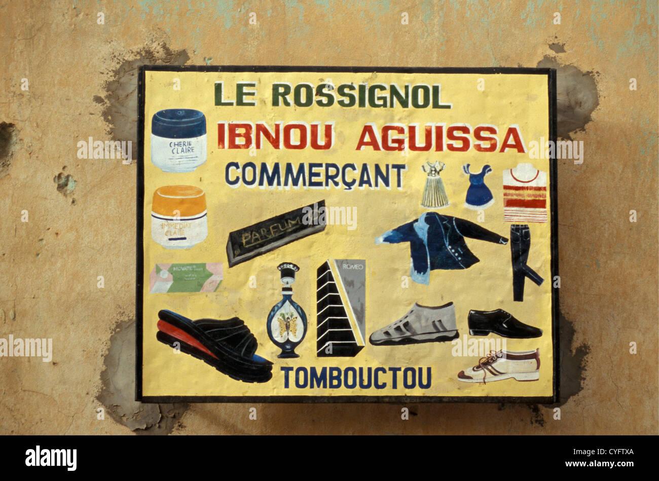 Mali, Timbuktu, Shop sign. Sahara desert. - Stock Image