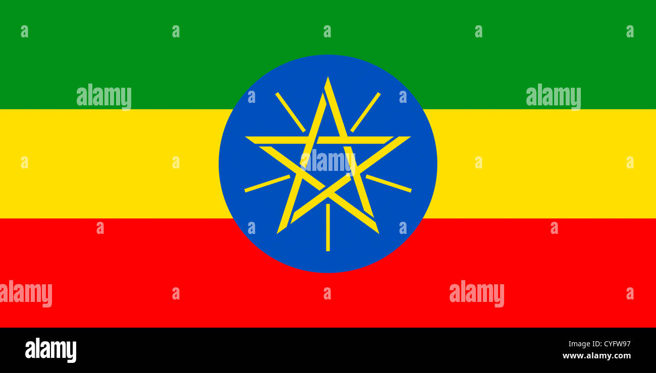 National flag of the Federal Democratic Republic of Ethiopia. - Stock Image