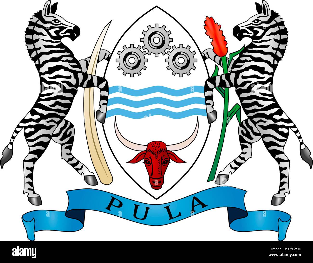 Coat of arms of the Republic Botswana. - Stock Image