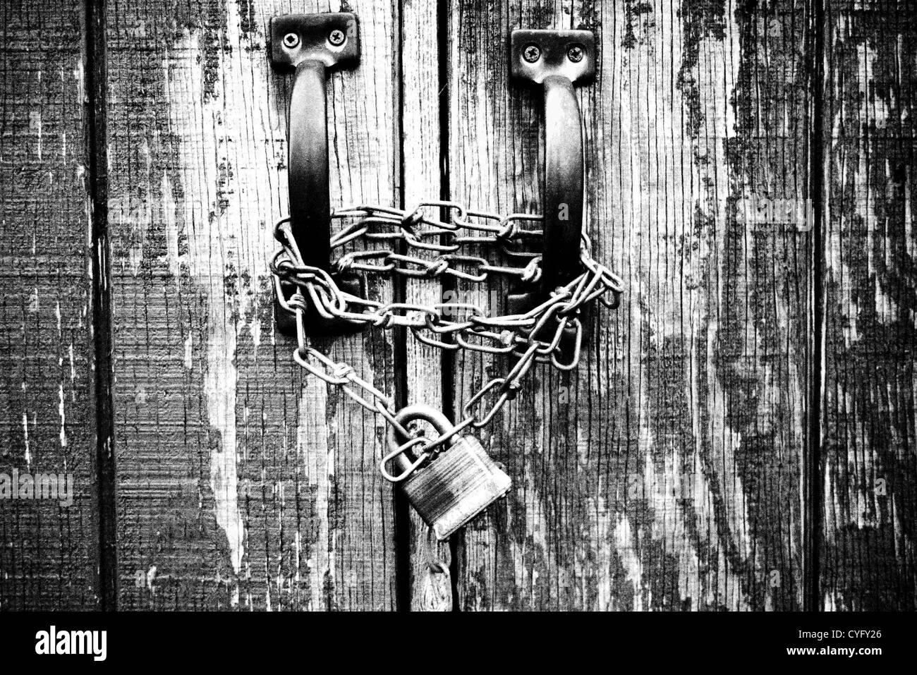 Locked Wood Door - Stock Image