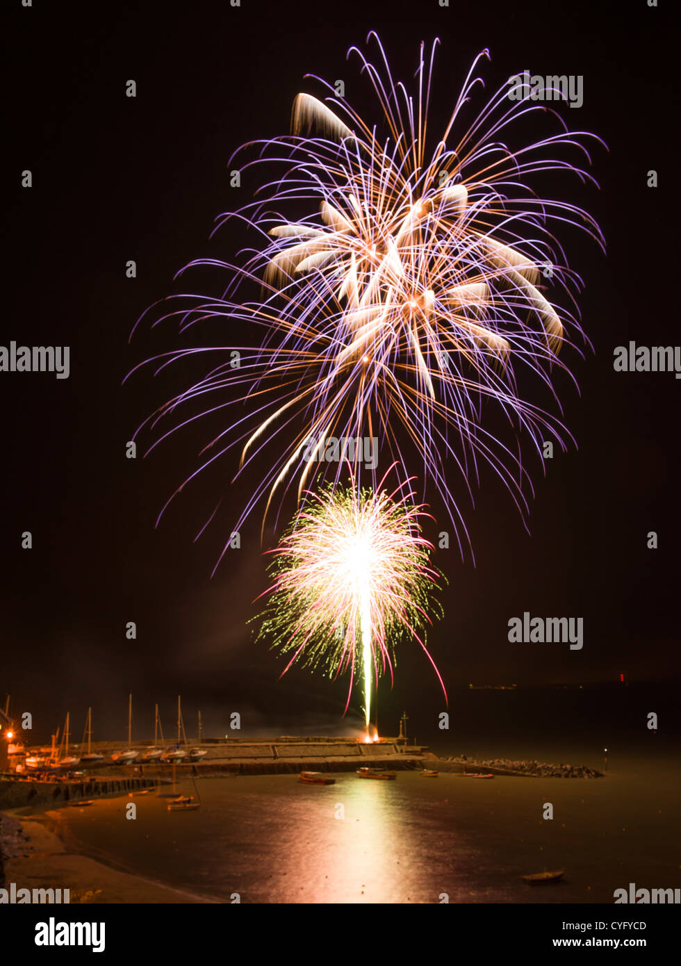 Fireworks at New Quay West Wales November 2012 - Stock Image