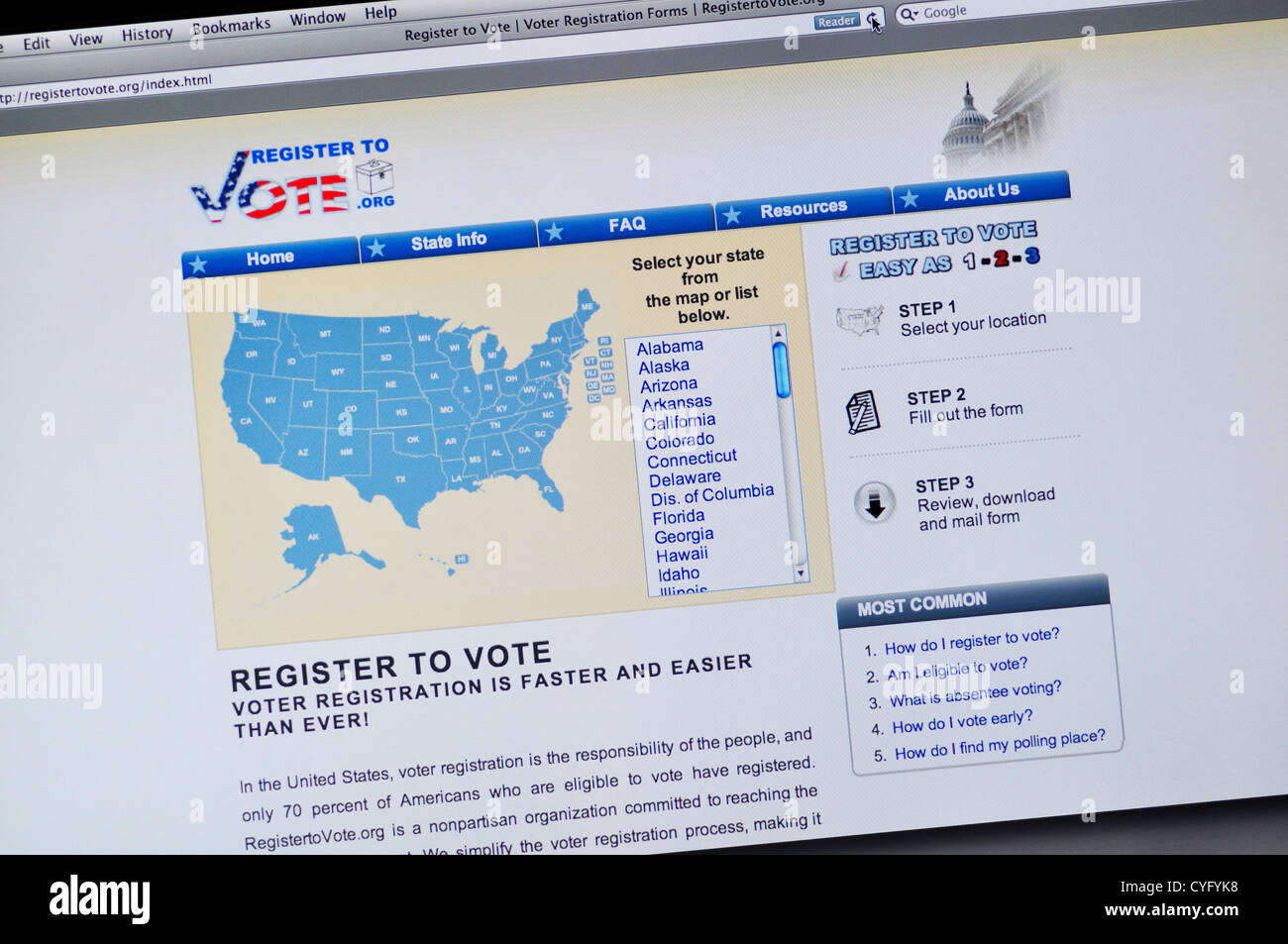 USA. 4th November, 2012. Register to Vote website - US presidential elections registration online - Stock Image