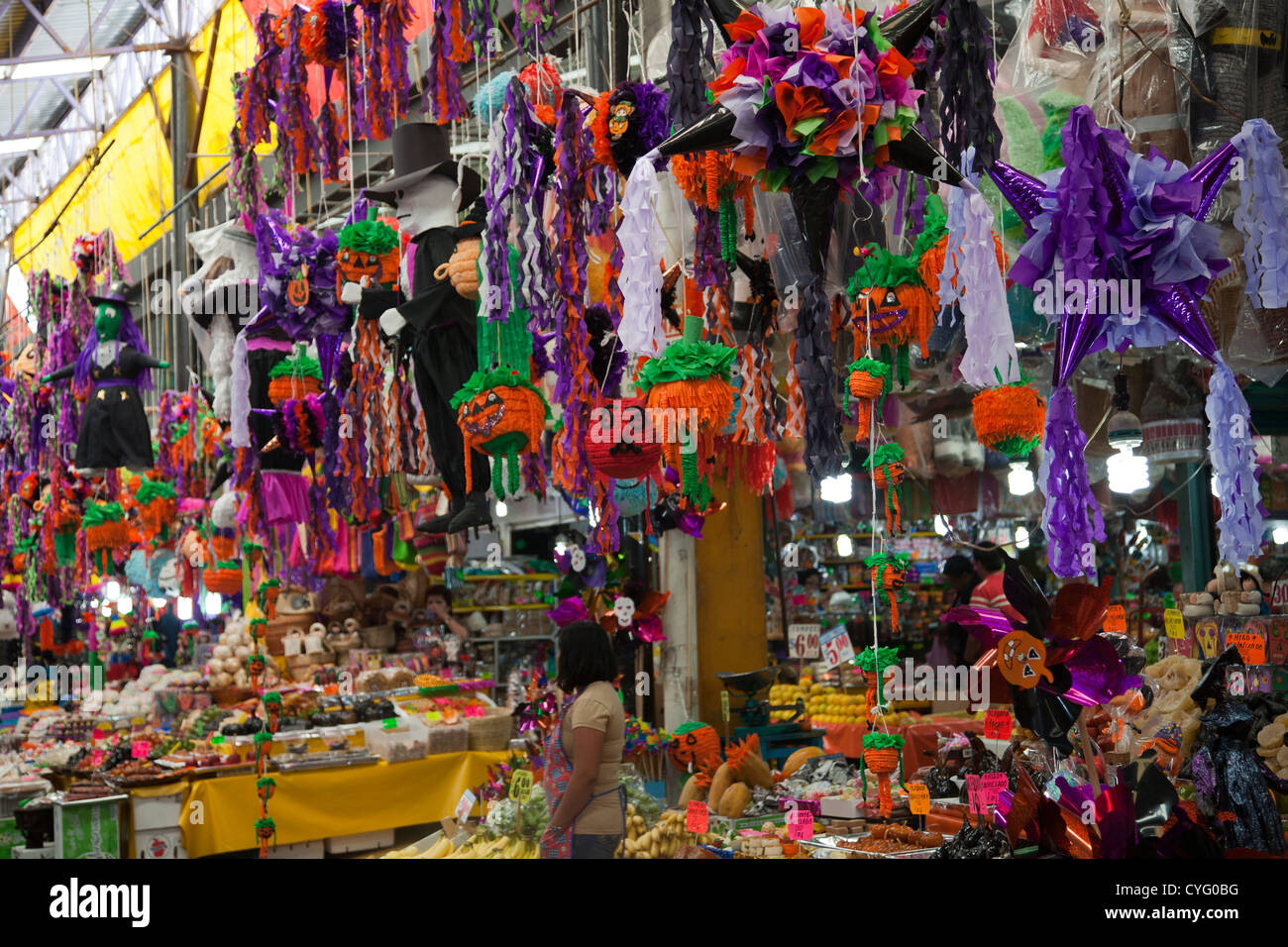 halloween and day of the dead paraphernalia at jamaica market in mexico city df stock