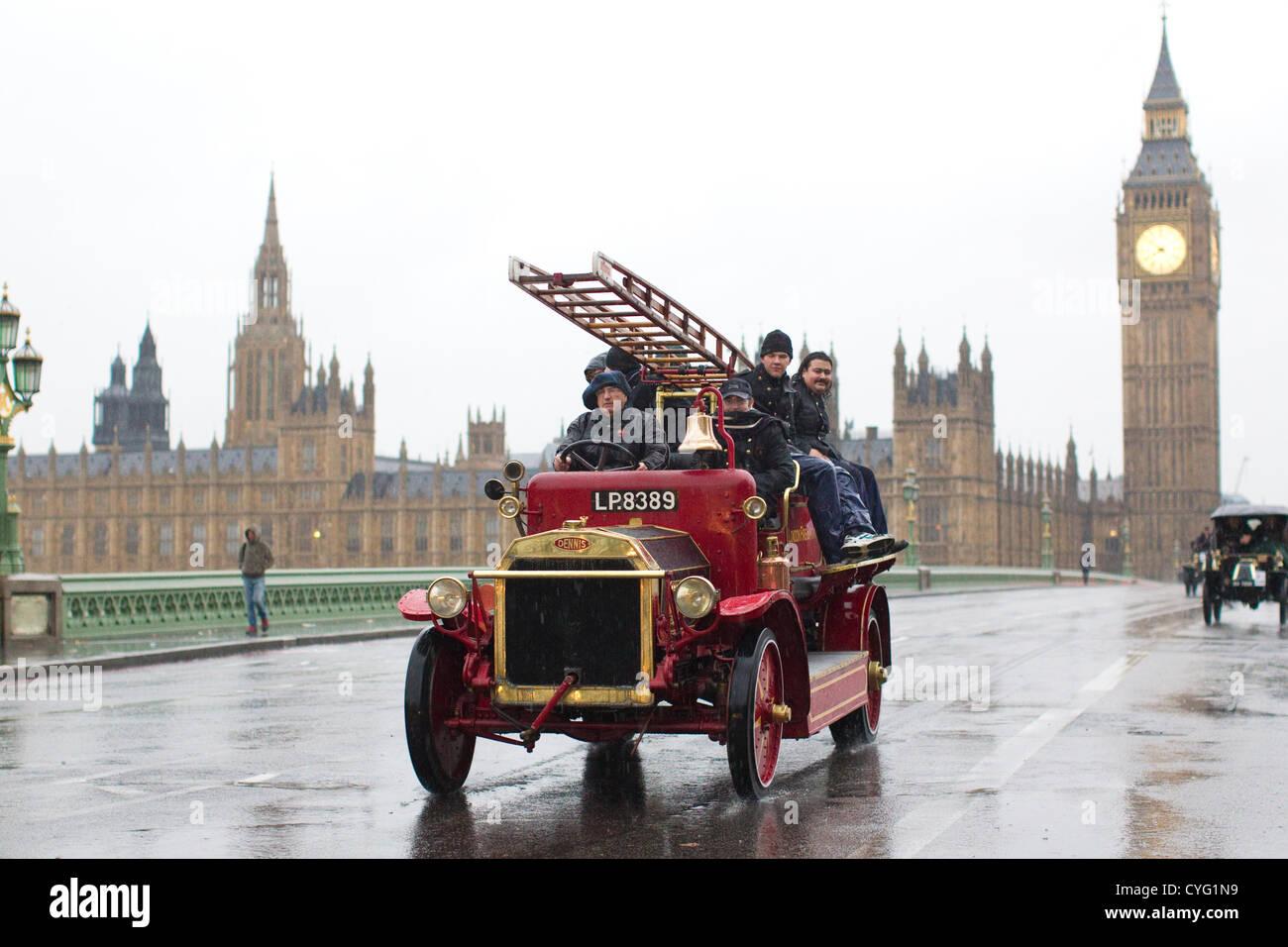 Royal Automobile Club's annual Veteran Car Run London to Brighton. 04.11.2012 Picture shows 1916 Dennis Fire - Stock Image
