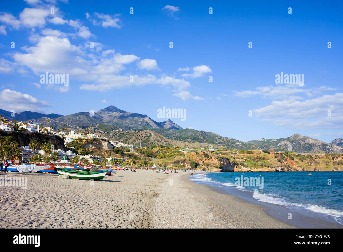 Burriana beach at the Mediterranean Sea in Nerja, Spain, Costa del Sol, southern Andalusia region. - Stock Image