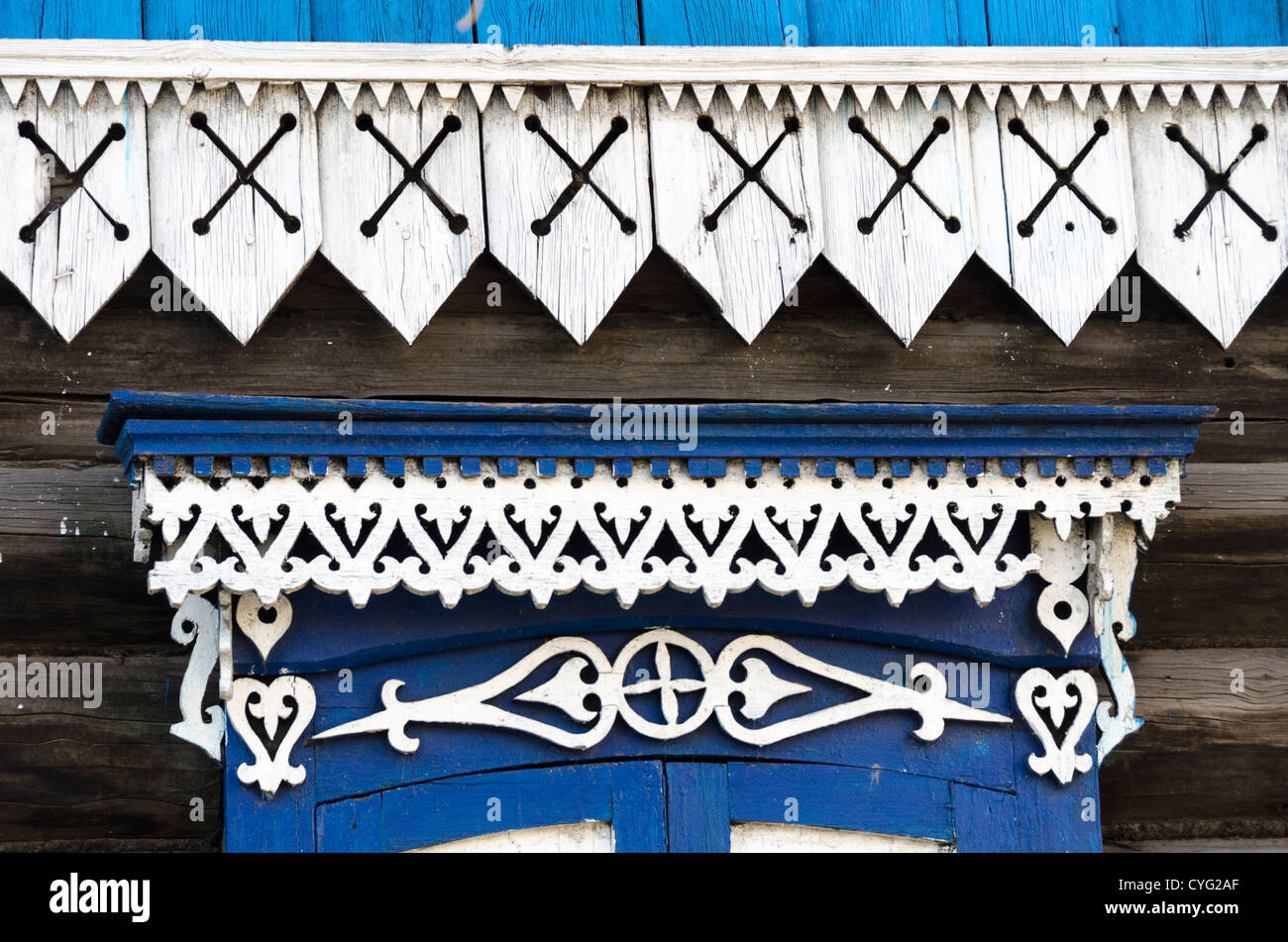 decorated woodwork on traditional house, Ulan Ude, Buryatia, Siberia, Russia - Stock Image
