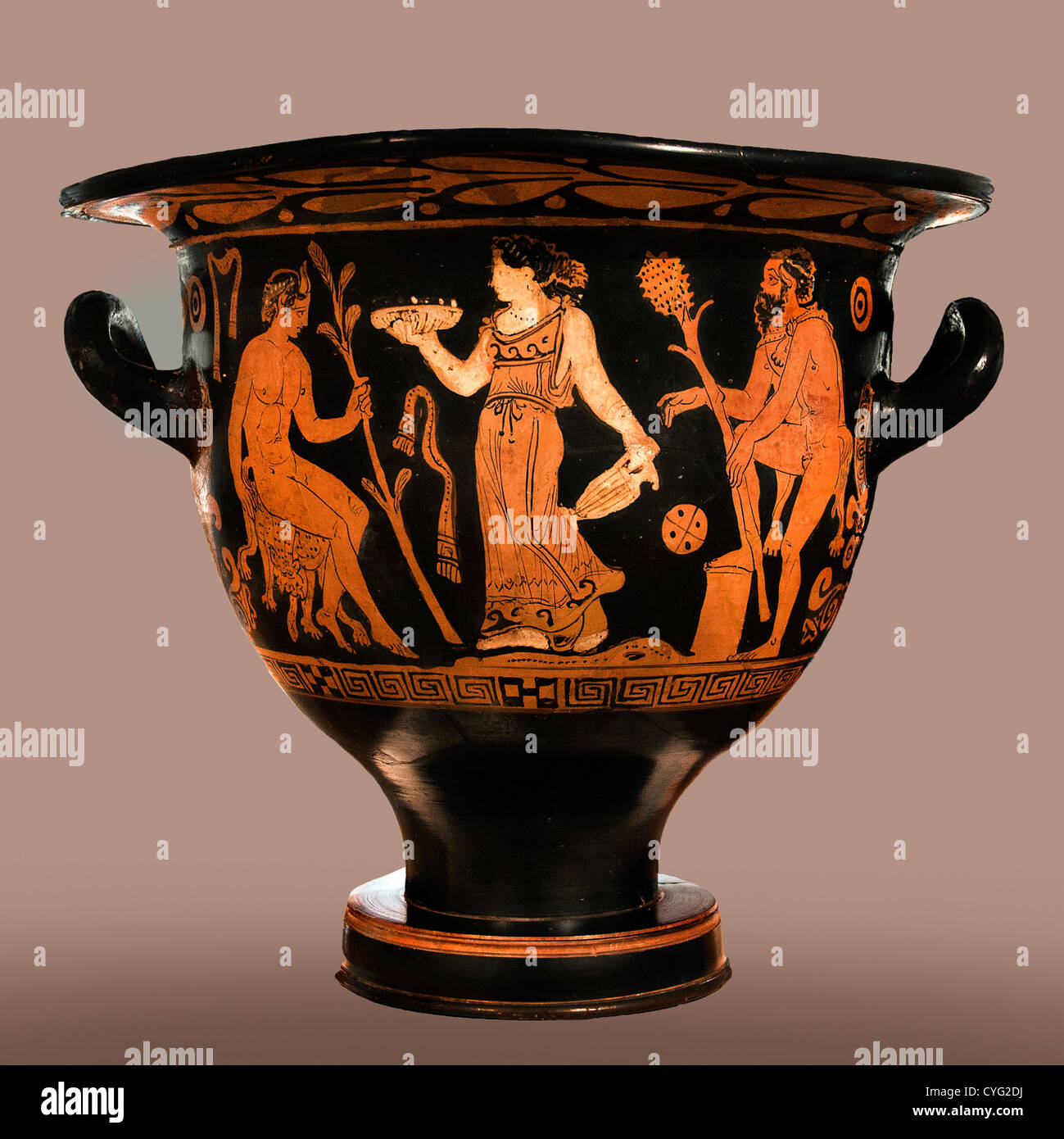 Terracotta bell krater vase for mixing wine and water Late Classical 390–380 B.C. Greek Attic Greece - Stock Image
