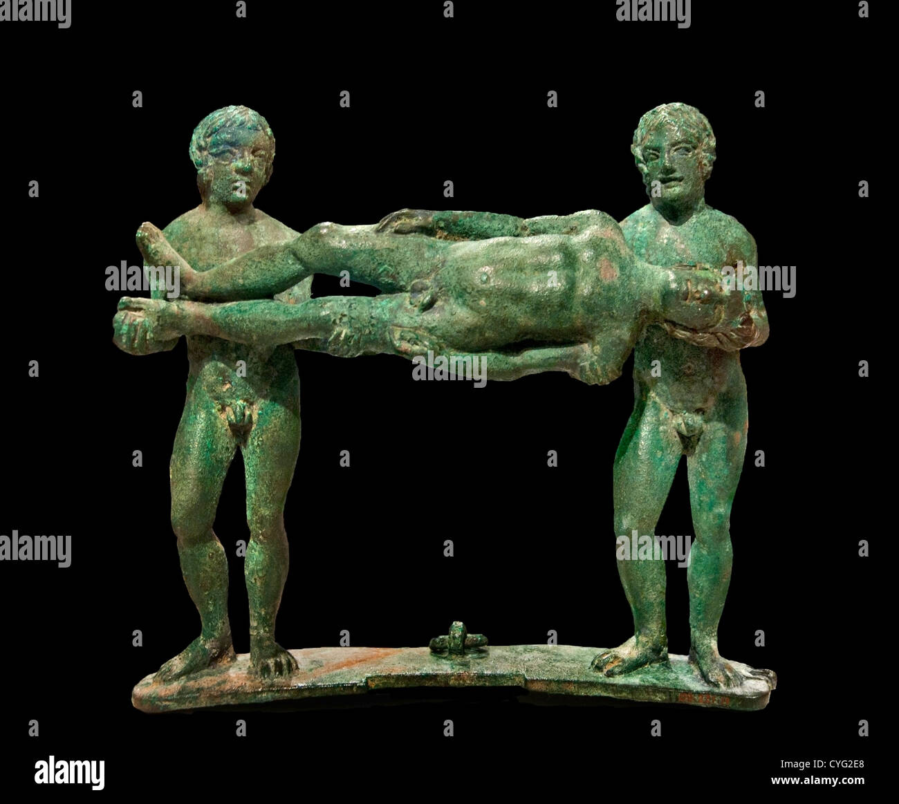 Bronze handle from a cista toiletry box  Classical 4th century B.C. Etruscan 13.3 cm Etruria Italy Italian Tuscany - Stock Image