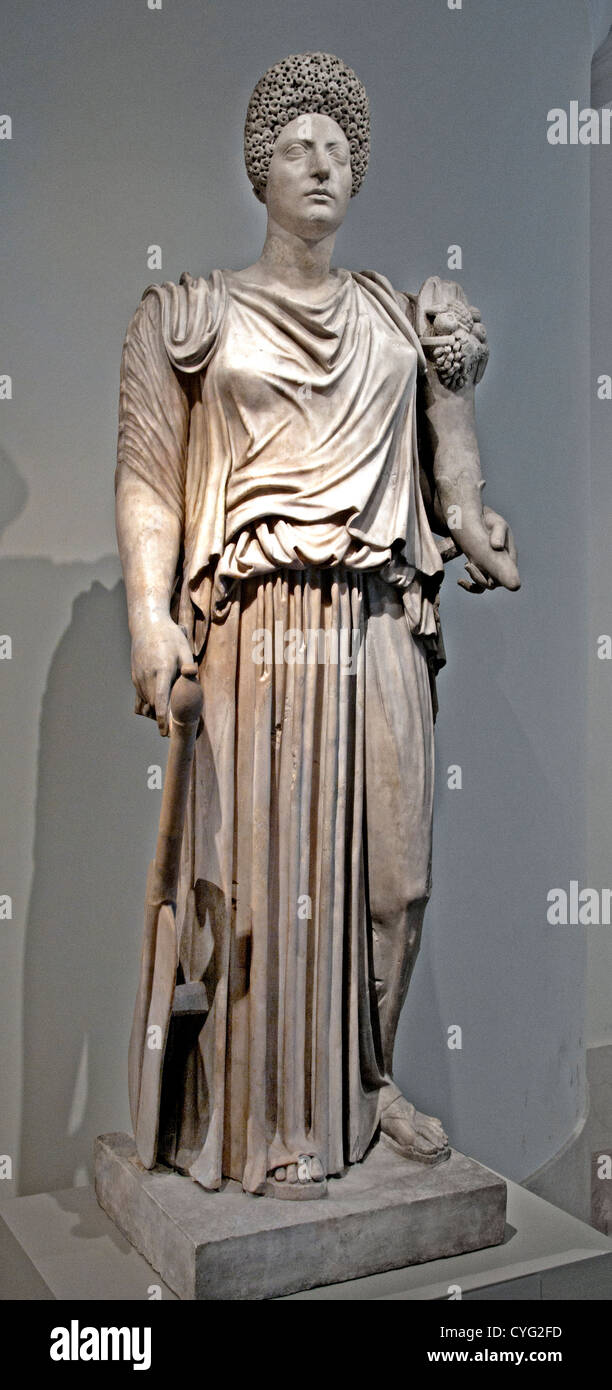 Marble statue of TycheFortuna restored with the portrait head of a woman Imperial Flavian Trajanic  A.D. 81–100 - Stock Image