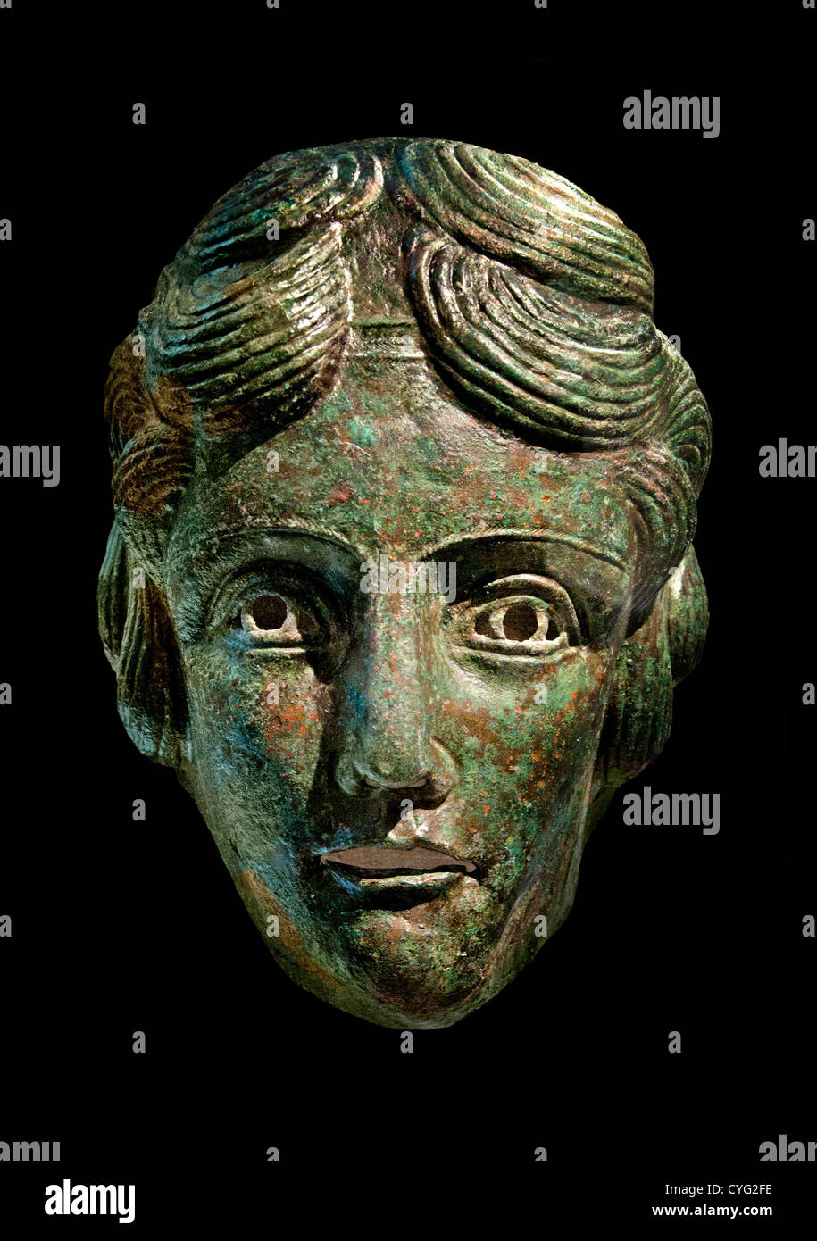 Bronze cavalry sports mask  Roman Mid Imperial 2nd Century AD Italy Italian - Stock Image