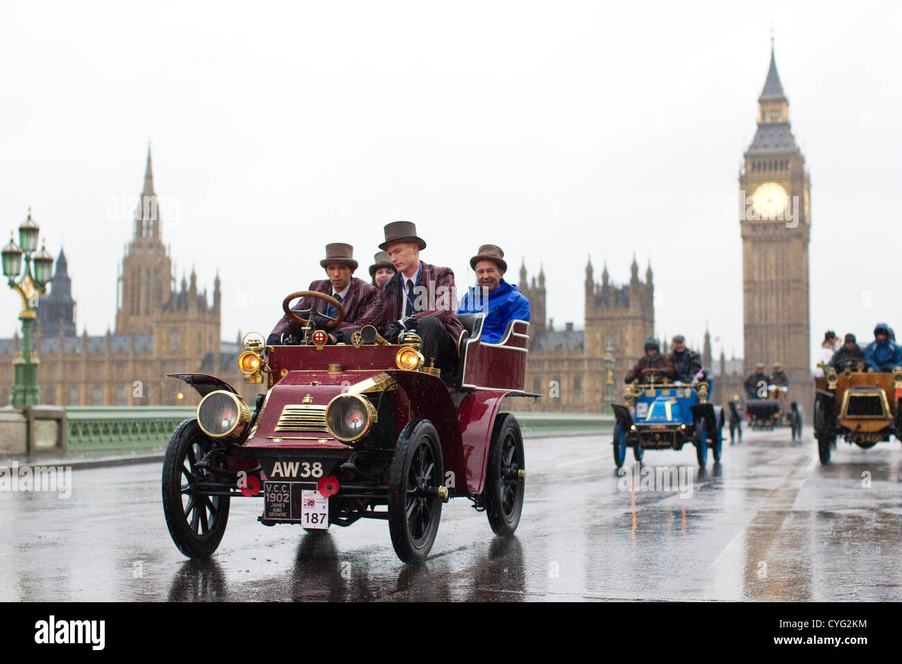 04.11.2012 Picture shows No.187 a James   Browne driven in wet conditions  by Imperial College London wearing top hats crossing Westminster Bridge 81b40177c32
