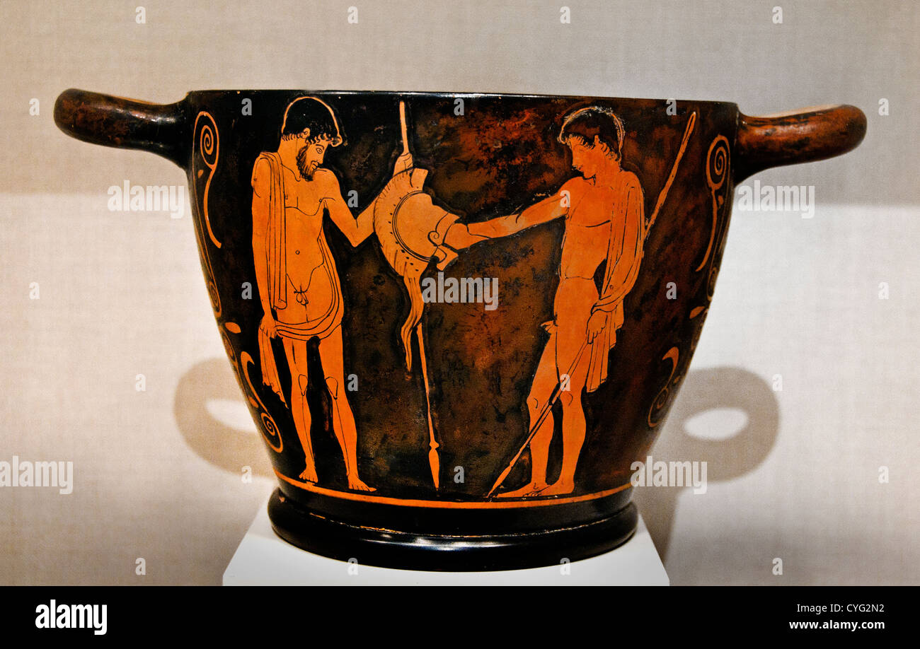 Terracotta skyphos drinking cup Classical 460 BC Greek Attic departure youth receives his armor and takes & Greek Armor Stock Photos u0026 Greek Armor Stock Images - Alamy