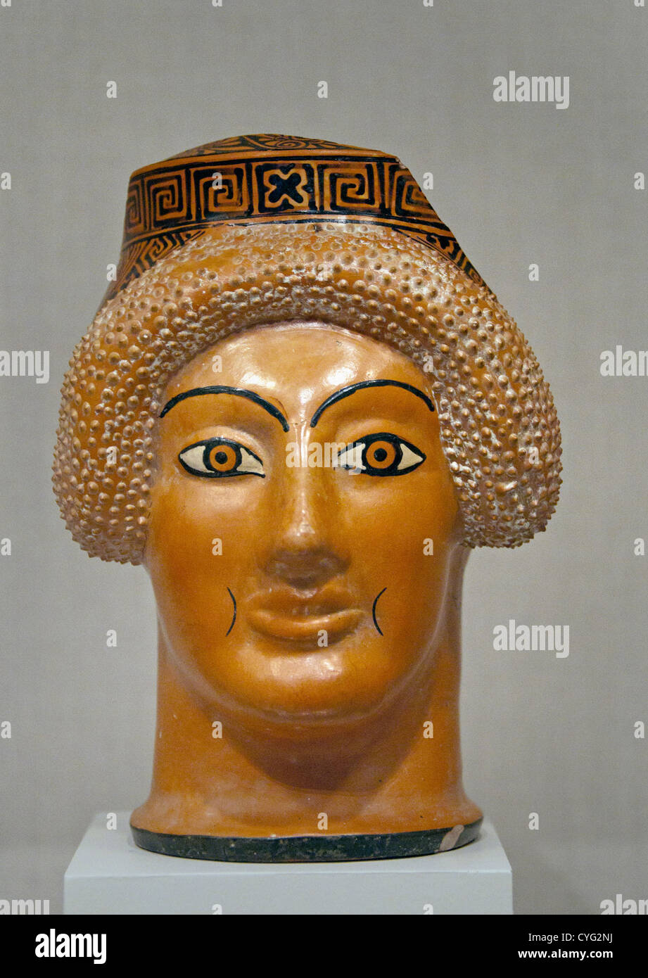 Terracotta  oinochoe jug in the form of a woman's head  Archaic  480 B.C. Greek  Attic 19 cm Vase Ceramic Stock Photo