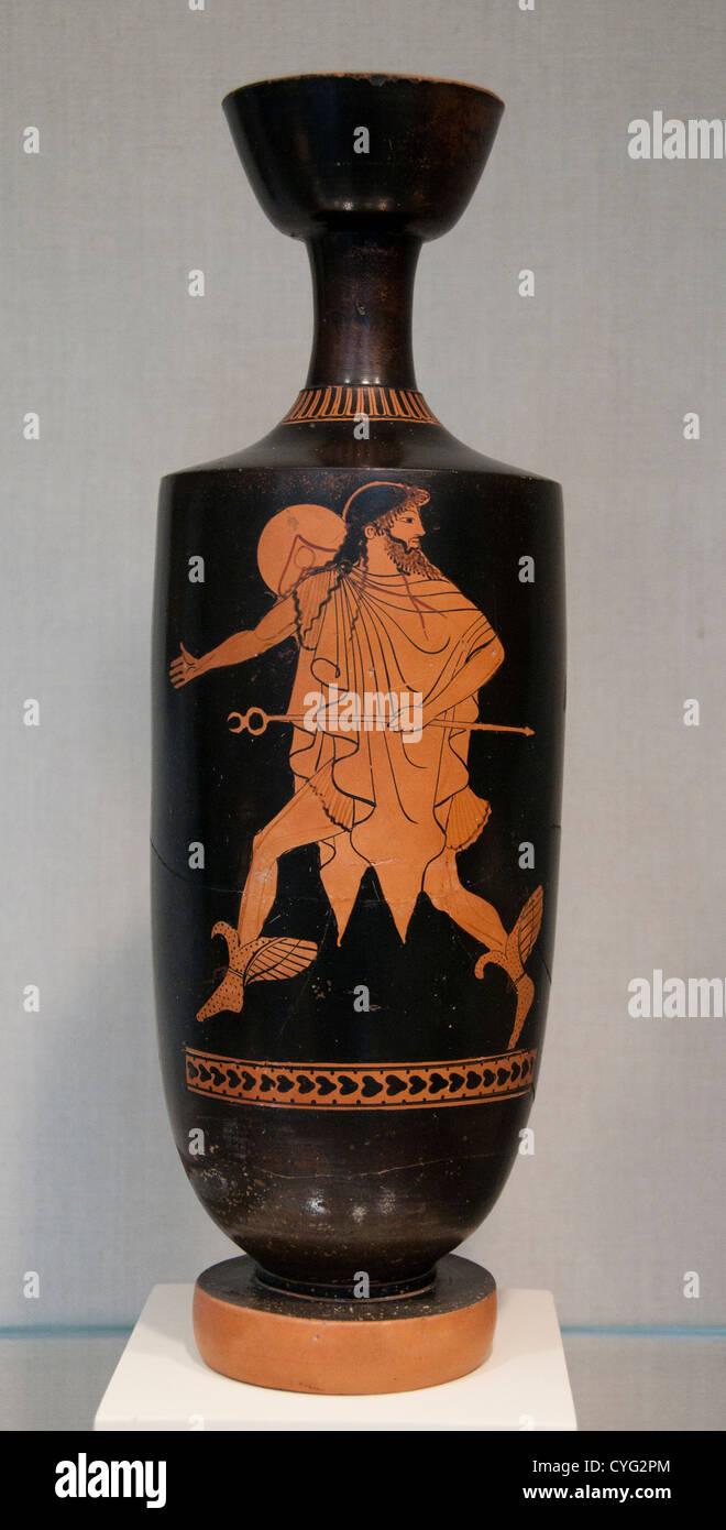 Hermes Terracotta lekythos oil flask Classical 480 - 470 BC Greek Terracotta 34 cm Vase Zeus Greece - Stock Image