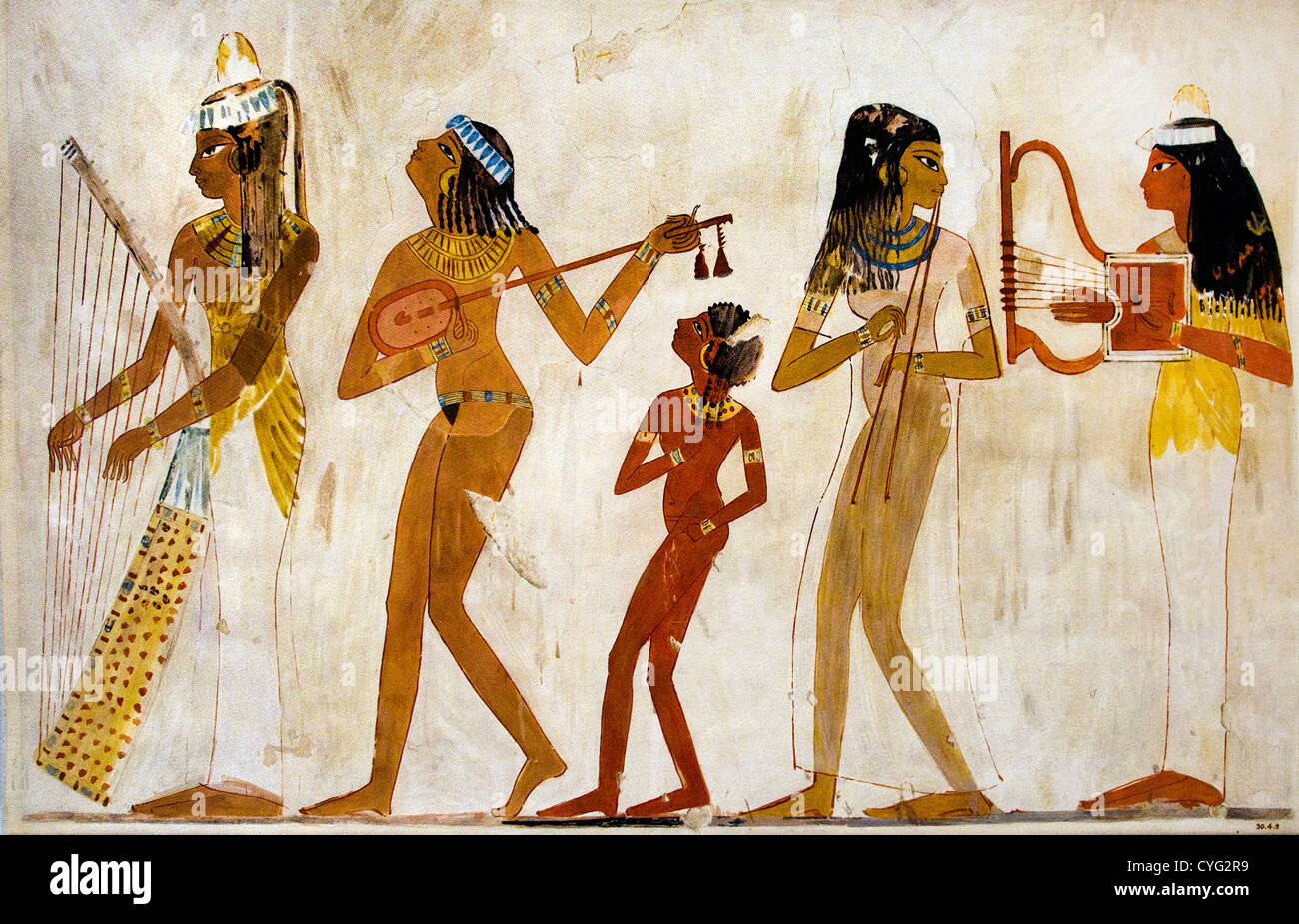 Egyptian Wall  Painting from the New Kingdom 1480 BC - 1070 BC  Music Female Musicians - Stock Image