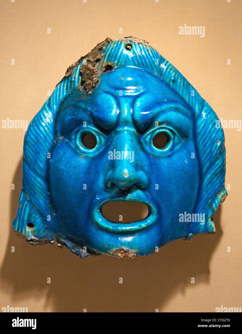 Theatrical mask for offering Roman  A.D. 2nd century Egypt  Medinet el Fayum Krokodilopolis Arsinoe faience Blue - Stock Image