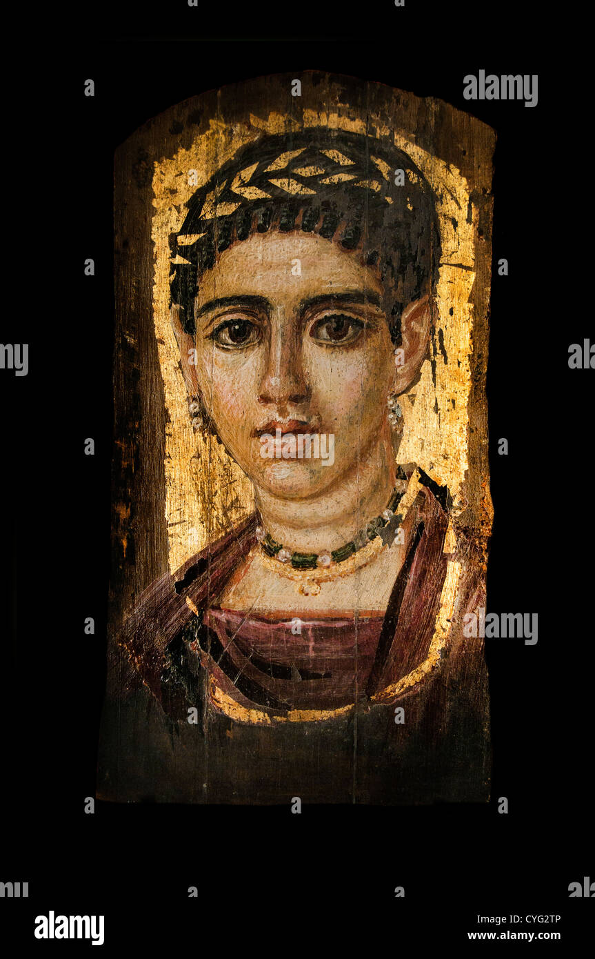 Portrait of a young woman with a gilded wreath Roman Period A.D. 120–140 Egypt Encaust wood gold leaf 37 cm  painting - Stock Image