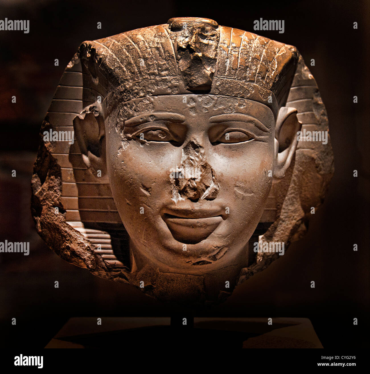 Head of King  possible Mentuhotep III 2000-1988 BC Dynasty 11  Egypt - Stock Image