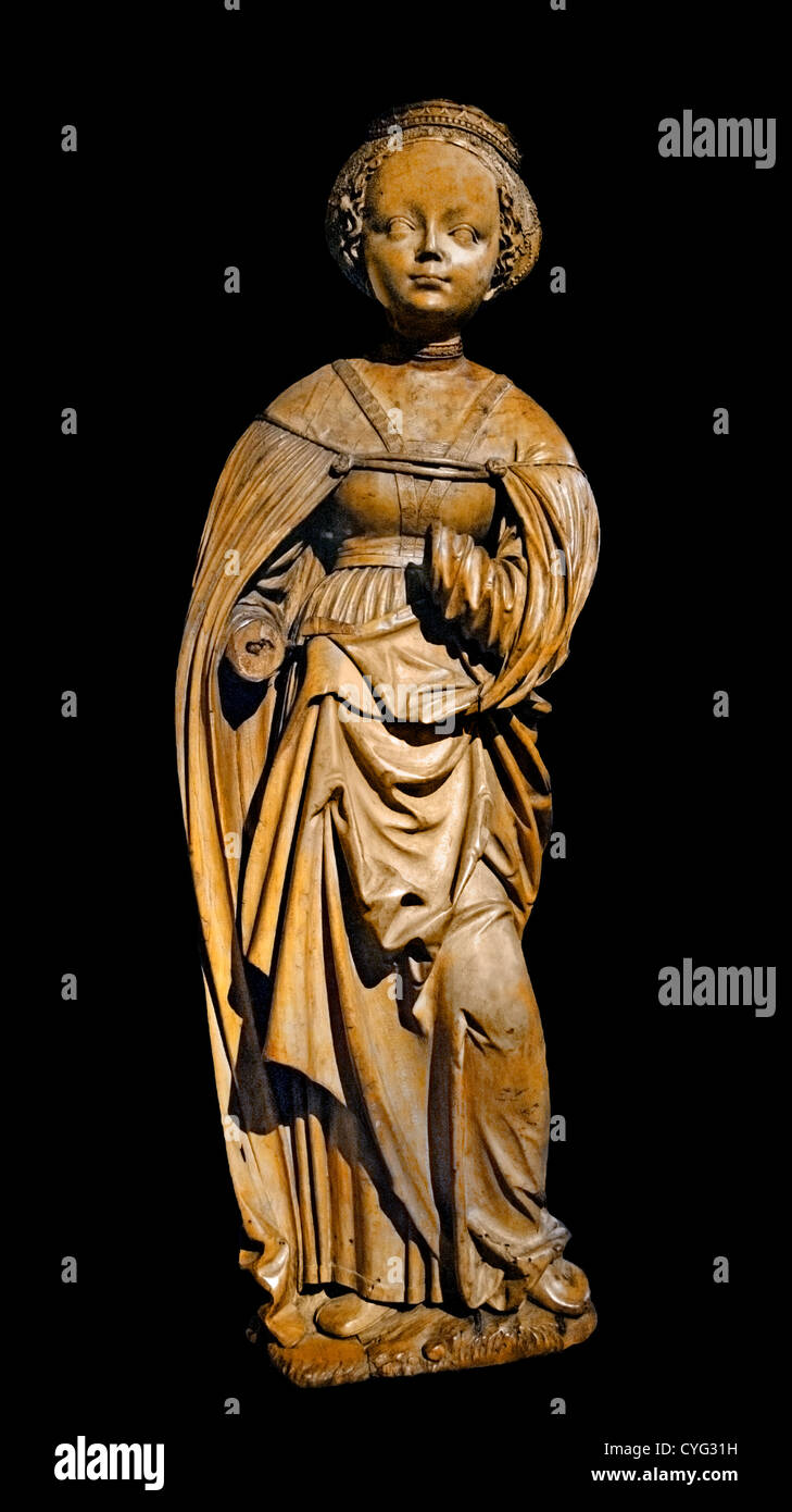 ST Saint Barbara 1510 German Lindenwood 61cm Germany - Stock Image
