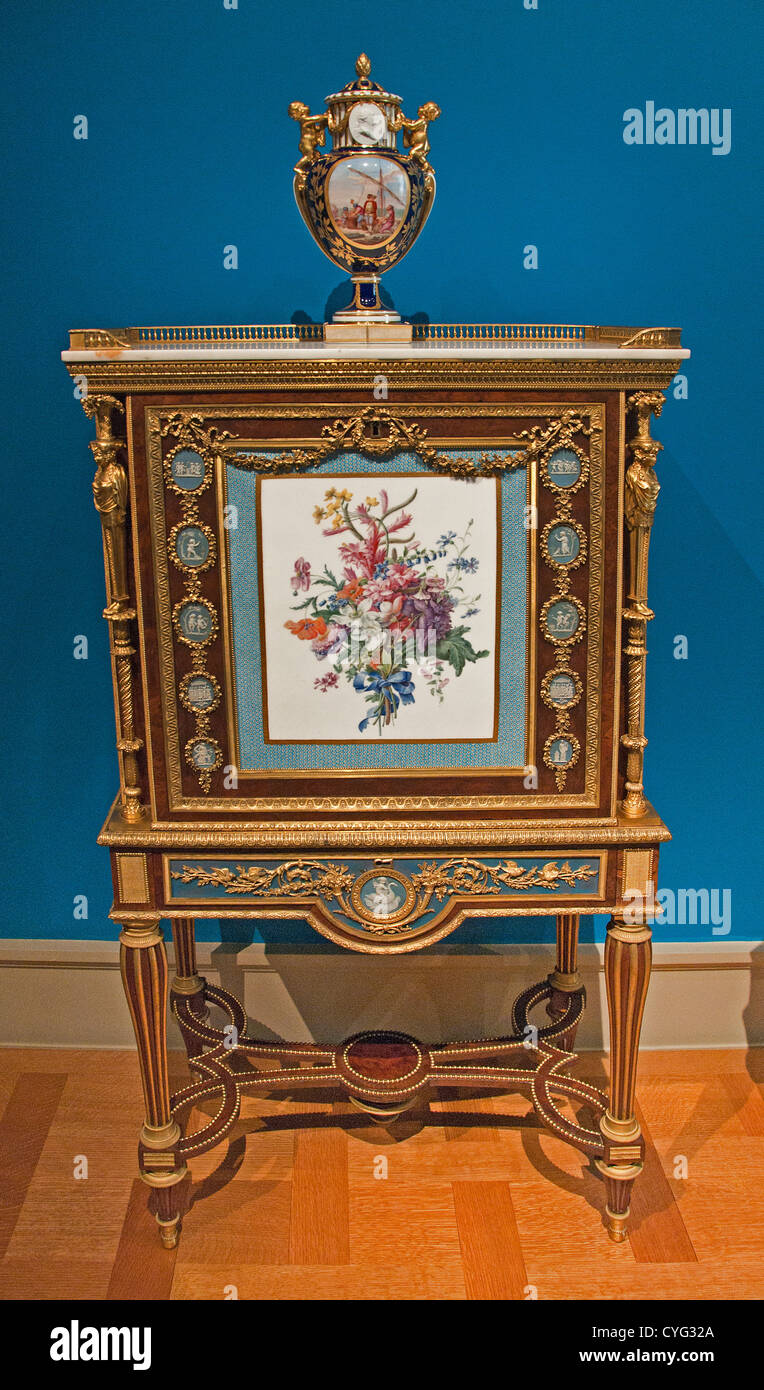 Drop front secretary on stand cabinet 1787 Adam Weisweiler French Paris Decorator plaque France Edme François - Stock Image