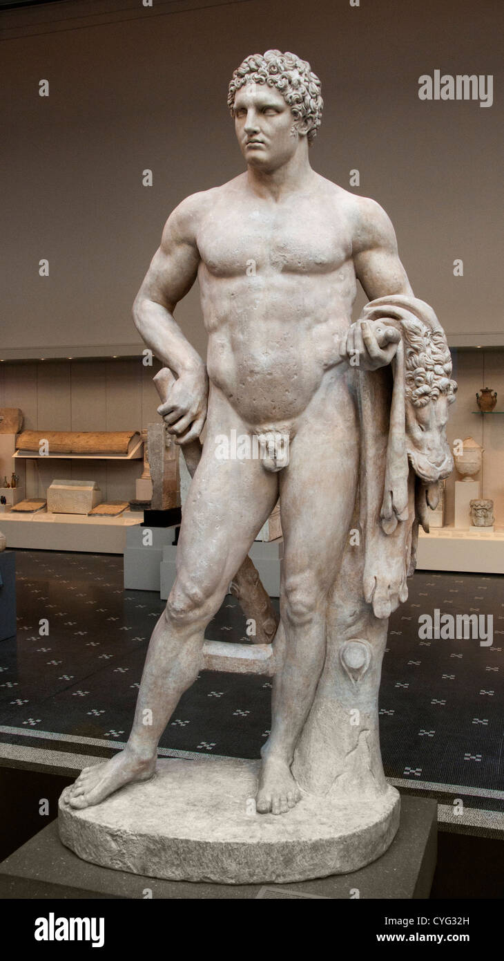 Marble youthful Hercules Flavian Roman Italy - Stock Image