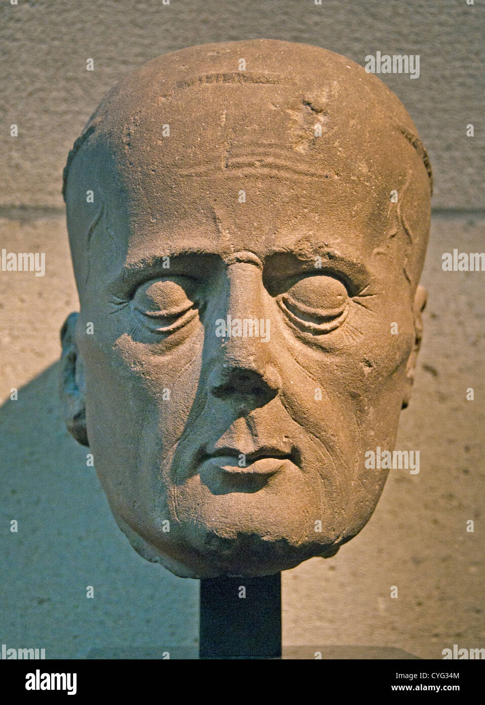 Head of a Cleric from a Tomb Effigy 1450–60 France French Janmont Limestone 25 cm - Stock Image