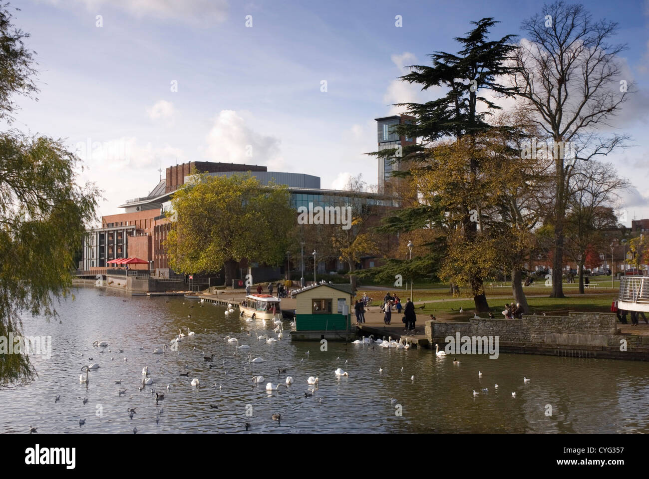 Warwickshire -Stratford upon Avon - view of the RSC theatre on west bank of the Avon - from the old Tramway Bridge Stock Photo
