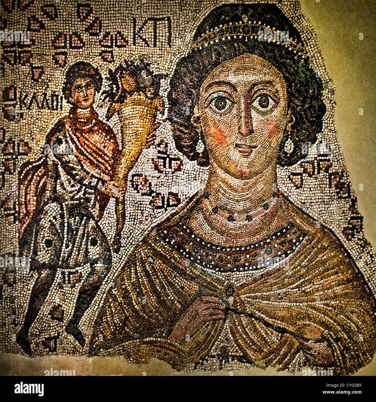 Fragment of a Floor Mosaic with a Personification of Ktisis 500–550 Byzantine Marble glass 150 x 199 cm Mosaics - Stock Image