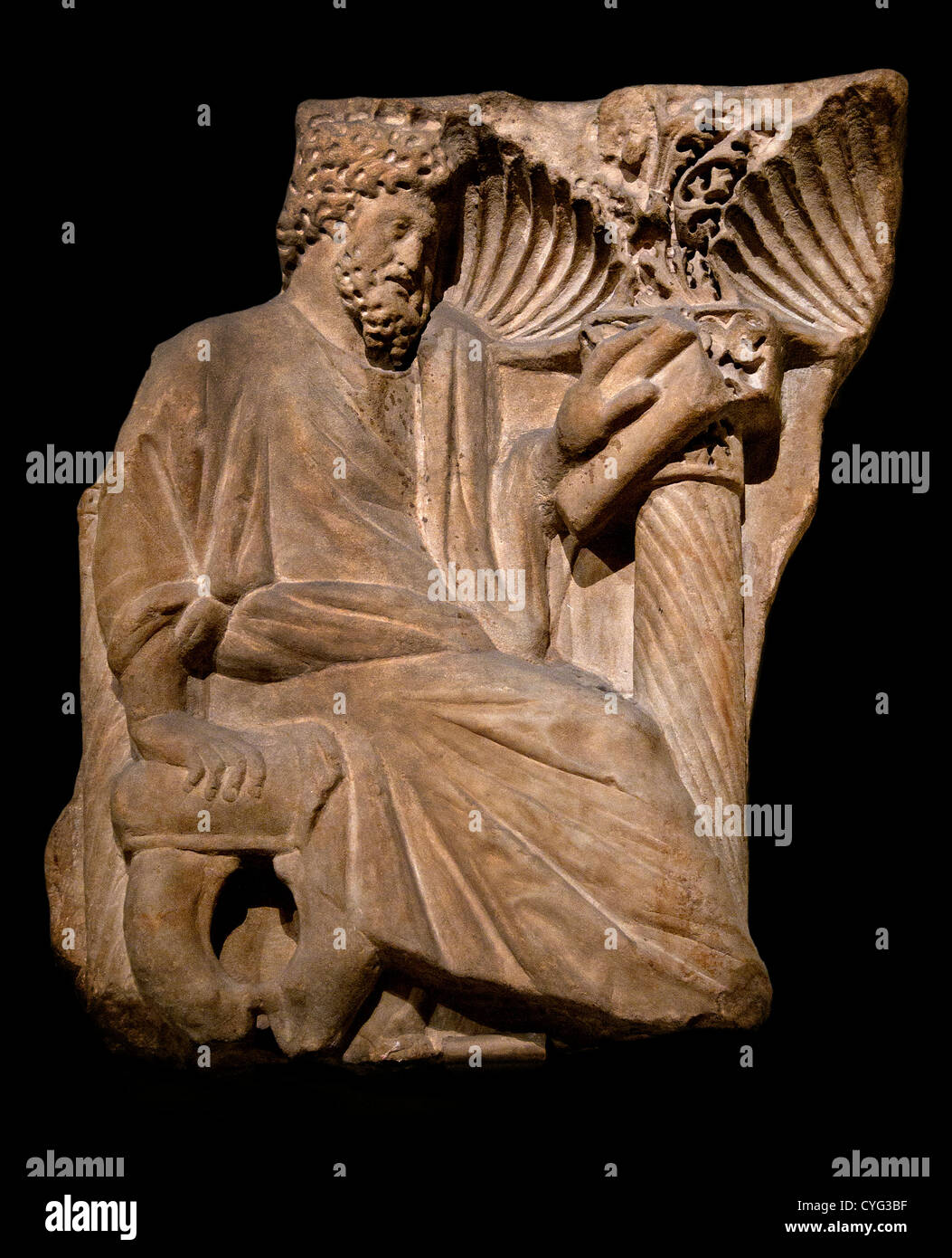 Fragment of a Sarcophagus with a Seated Figure 250  Asia Minor Roman 28 cm   figure represented interest in an intellectual - Stock Image