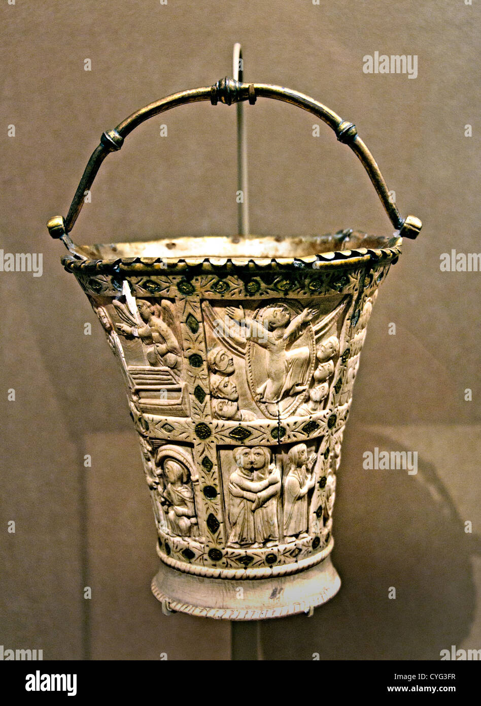 Situla Bucket for Holy Water 860–880 northern France Carolingian Ivory with gilded copper alloy mounts and foil - Stock Image