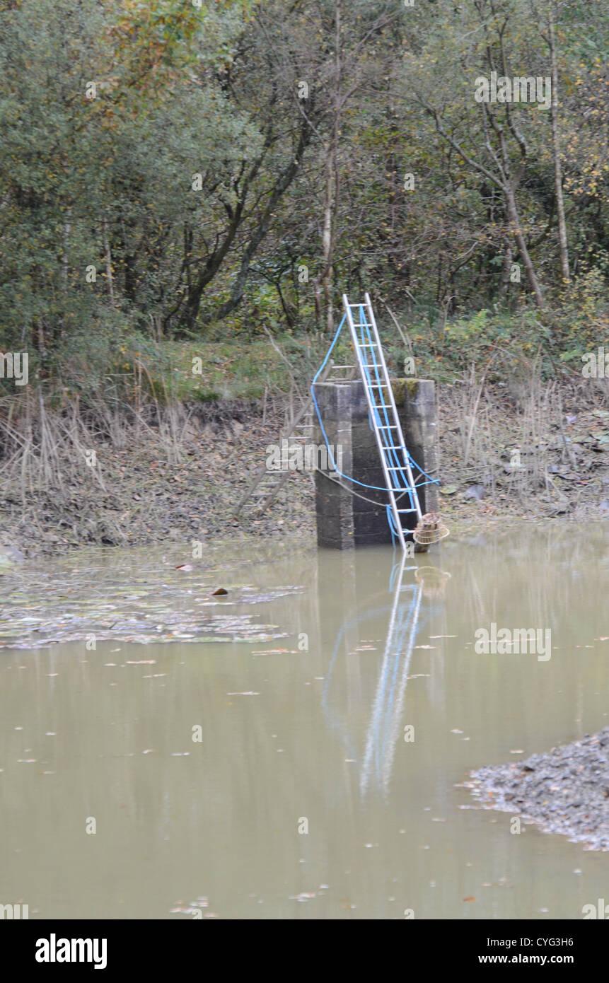 draining the lake - Stock Image
