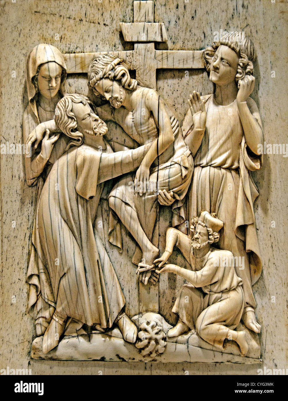 Plaque with the Descent from the Cross Jesus Christ 1320–40 Paris France  Ivory  whale bone 23  cm - Stock Image