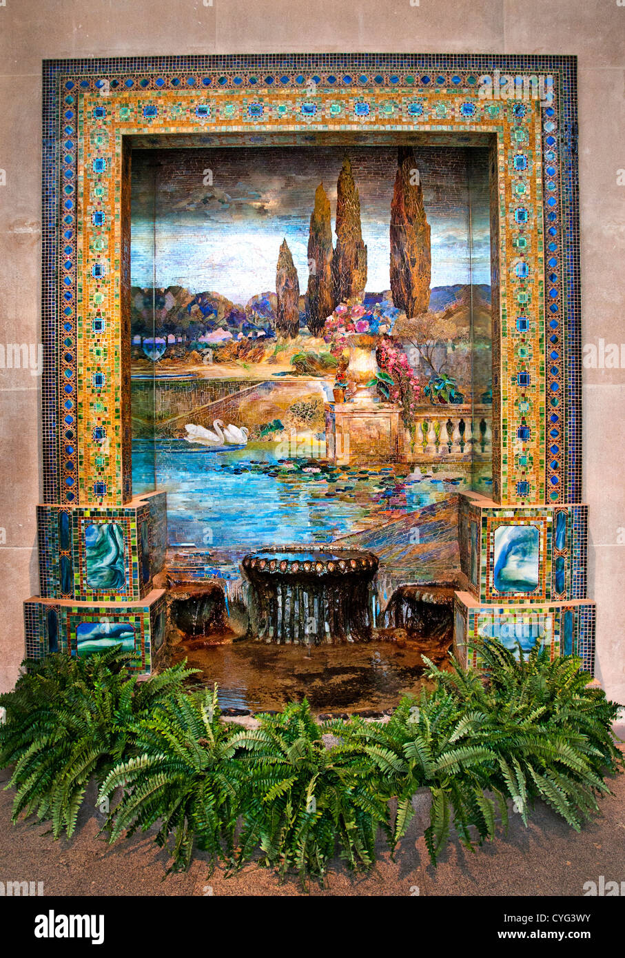 Garden Landscape by Louis Comfort Tiffany American New York City 1848–1933 Favrile glass mosaic  262 x 289 cm Stock Photo