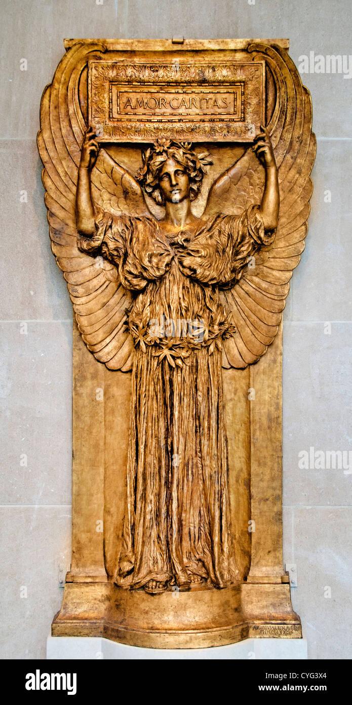 Amor Caritas by Augustus Saint Gaudens  Irish - American 1880–98 Bronze 262 x 127 cm Sculpture - Stock Image