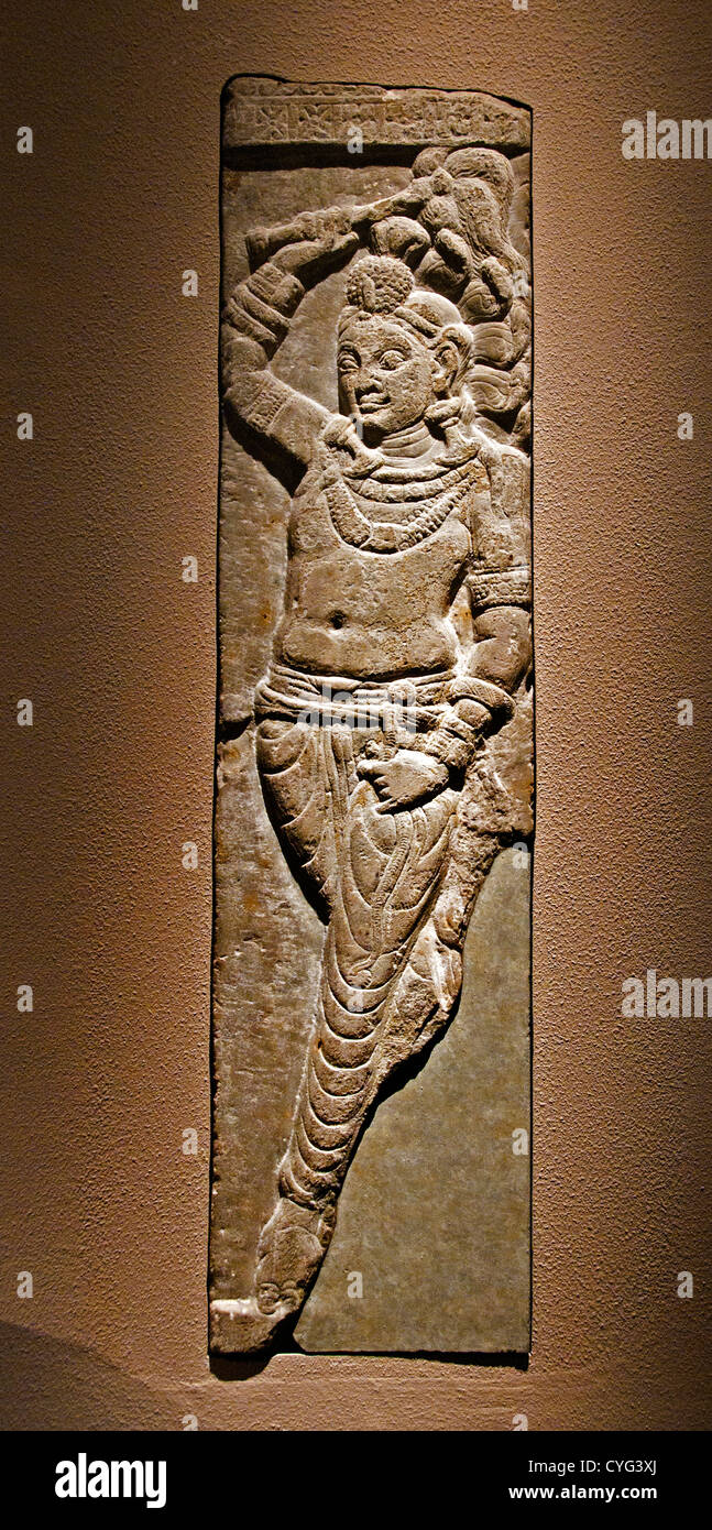 Naga Attendant Holding a Fly Whisk Ikshvaku 3rd century India Andhra Pradesh Nagarjunakonda 23cm  Limestone - Stock Image