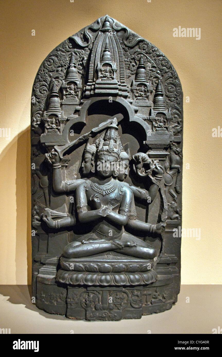 Manjuvajra Mandala 11th century Bangladesh or India Bengal Black stone 130 cm Sculpture - Stock Image