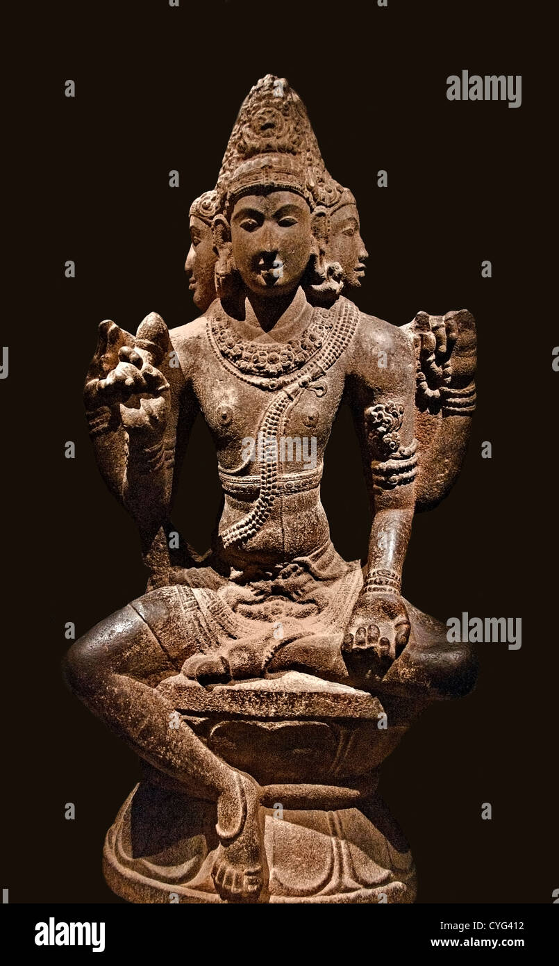 Shiva as Mahesha Chola period 10th century India Tamil Nadu Granite 148 cm - Stock Image