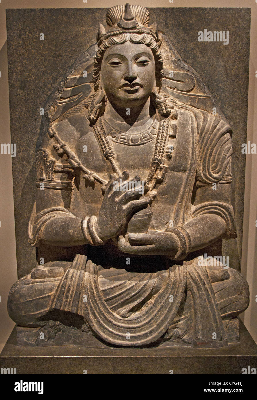 Seated Bodhisattva Maitreya Buddha of the Future 7th–8th century Afghanistan near Kabul 78 cm Sculpture - Stock Image