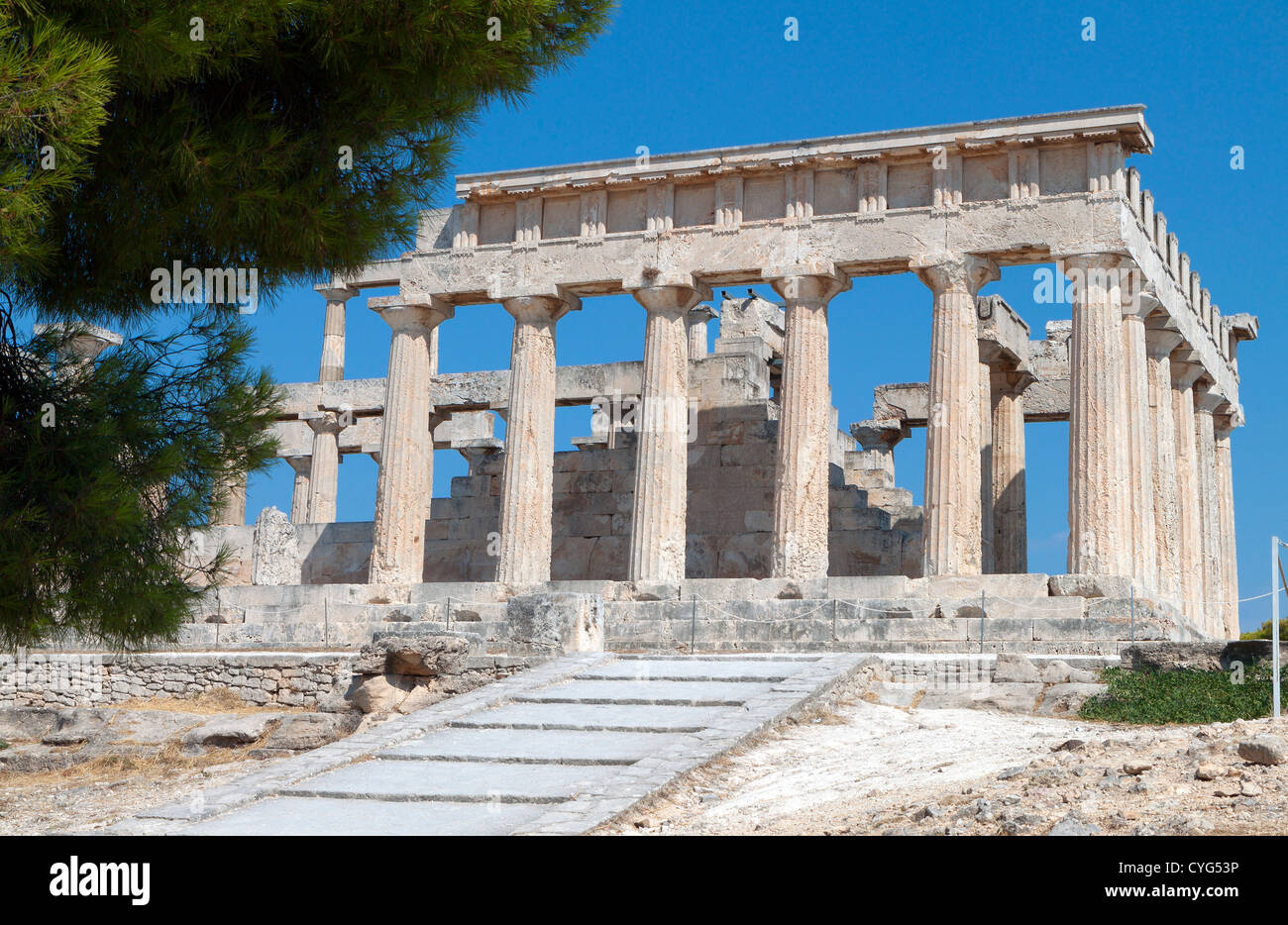 Classical ancient temple of Aphaia Athina at Aegina island in Greece. - Stock Image