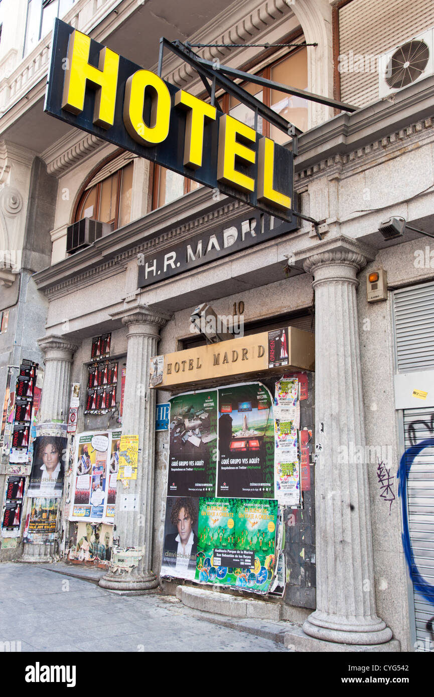 Closed down hotel in the centre of Madrid, Spain - Stock Image