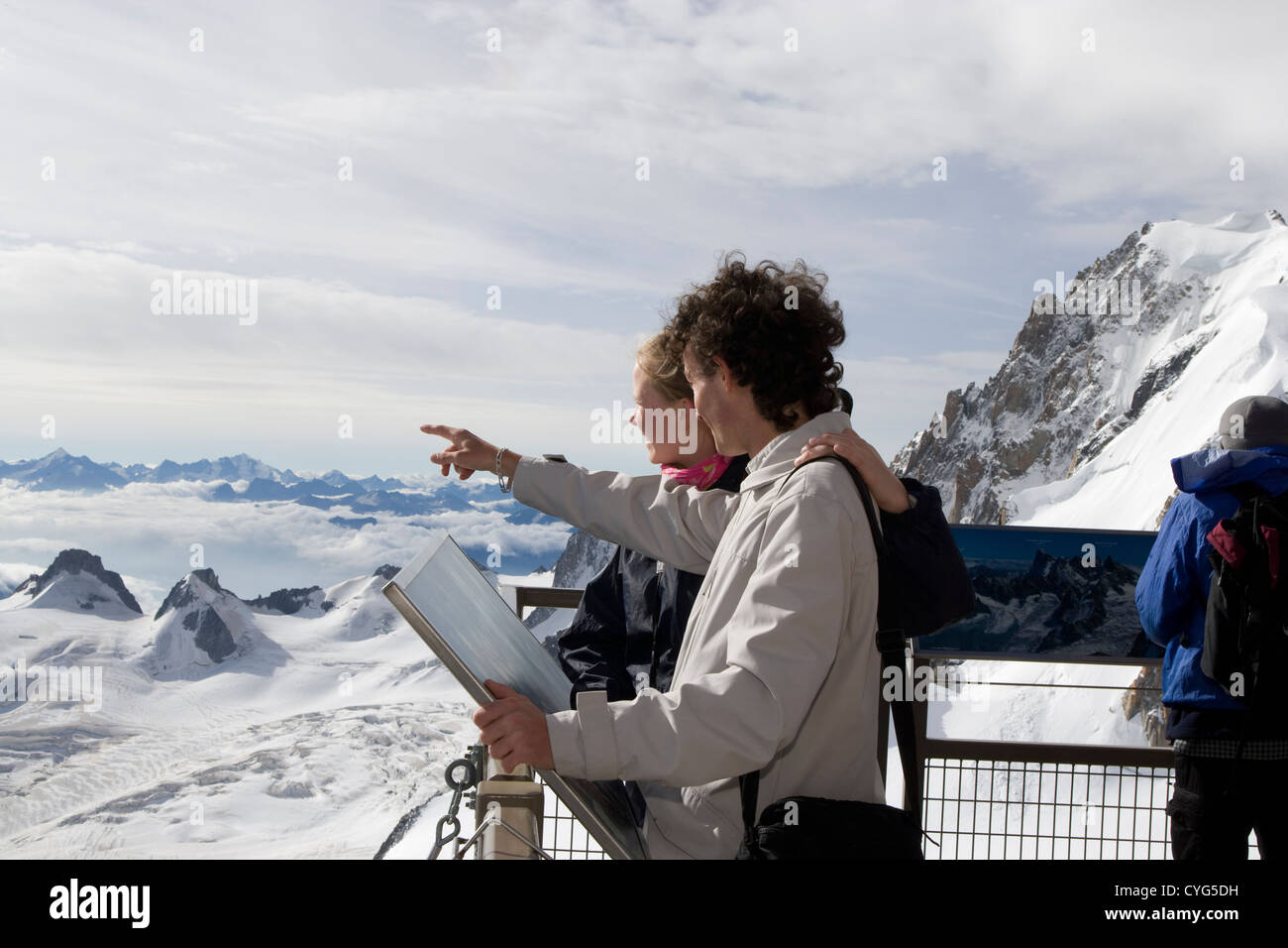 Courmayeur - Mont Blanc / Aiguille du Midi / sightseers on the Summit Terrace - Stock Image