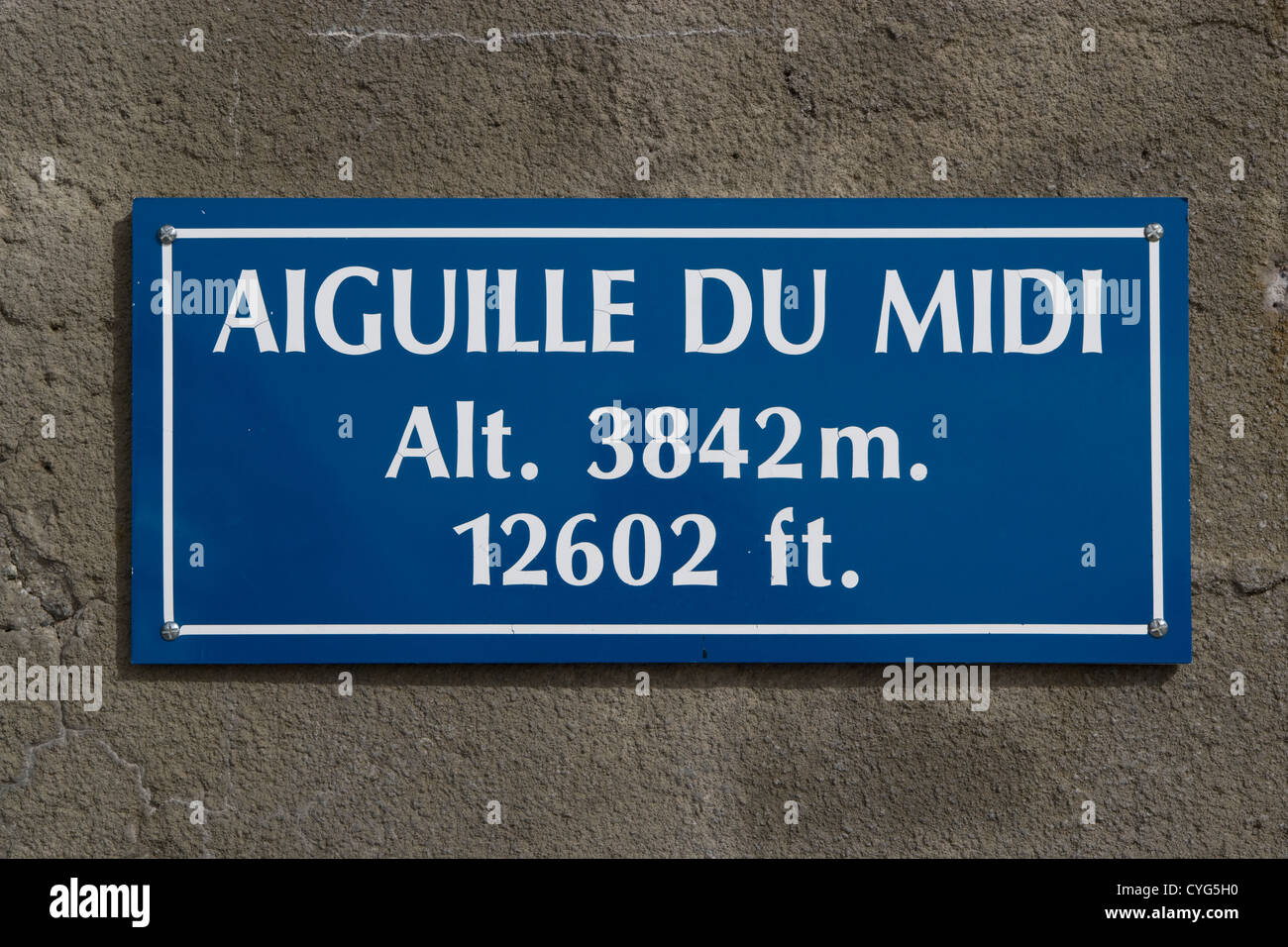 Mont Blanc - signage at Aiguille du Midi cable-car station [France] - Stock Image